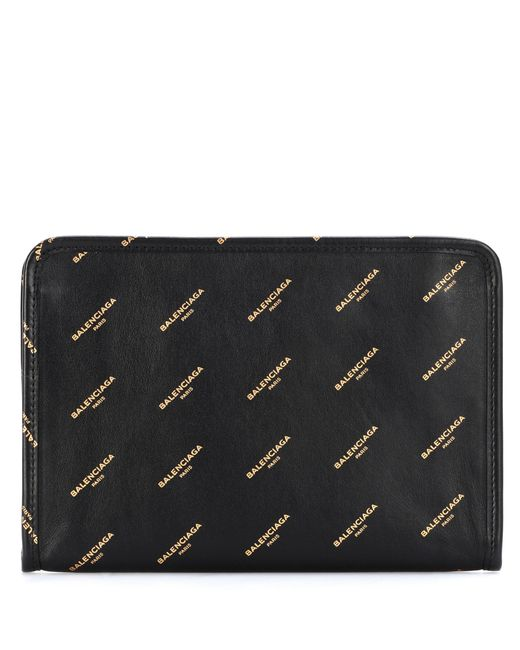 Balenciaga | Black Bazaar Mini Pouch Printed Leather Clutch | Lyst