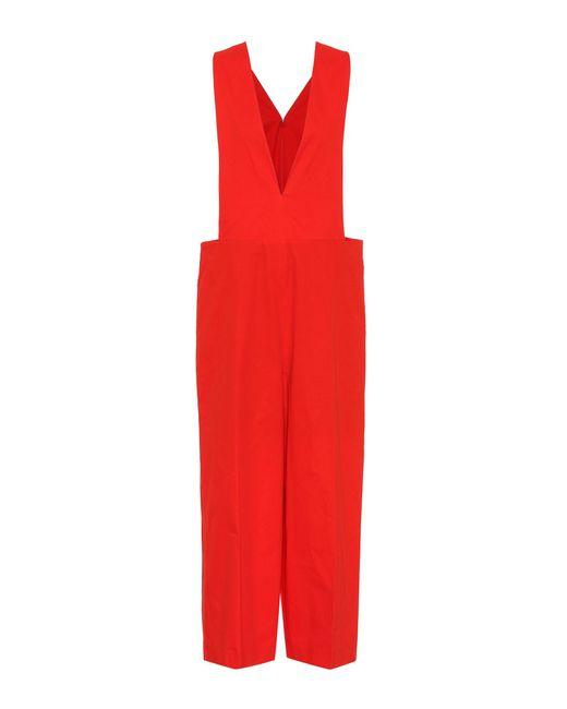 Delpozo - Red Cotton Jumpsuit - Lyst