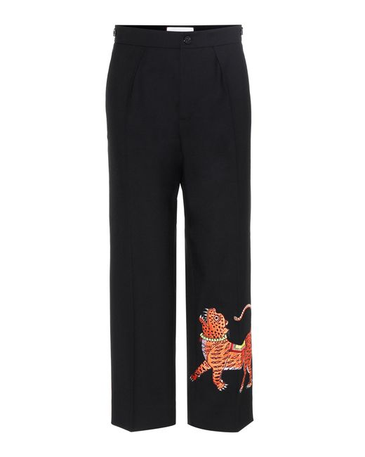 Gucci - Black Embroidered Ankle-length Trousers - Lyst
