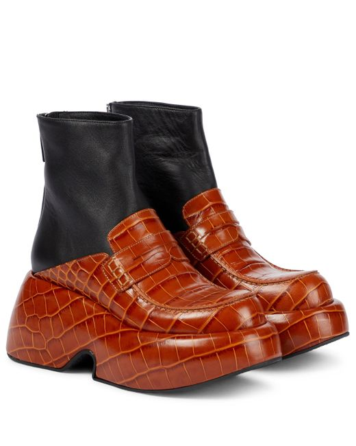 Loewe Brown Croc-effect Leather Ankle Boots