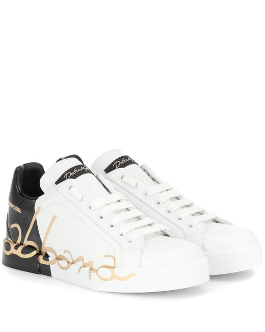 Dolce & Gabbana White Portofino Leather Sneakers