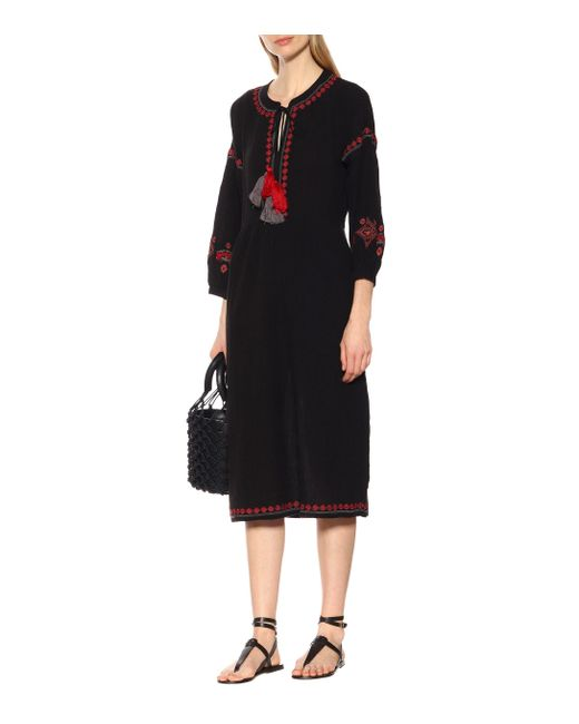 591fe1ebe4210 ... Velvet By Graham   Spencer - Black Etta Embroidered Crinkled Gauze  Peasant Dress ...