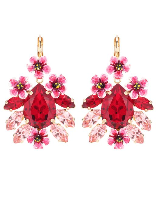 Dolce & Gabbana - Red Crystal And Resin Floral Earrings - Lyst