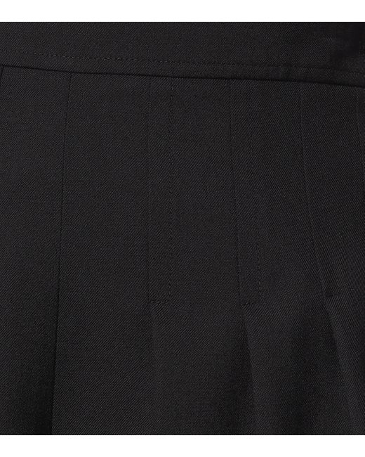Saint Laurent Women's Black High-rise Wool-gabardine Shorts