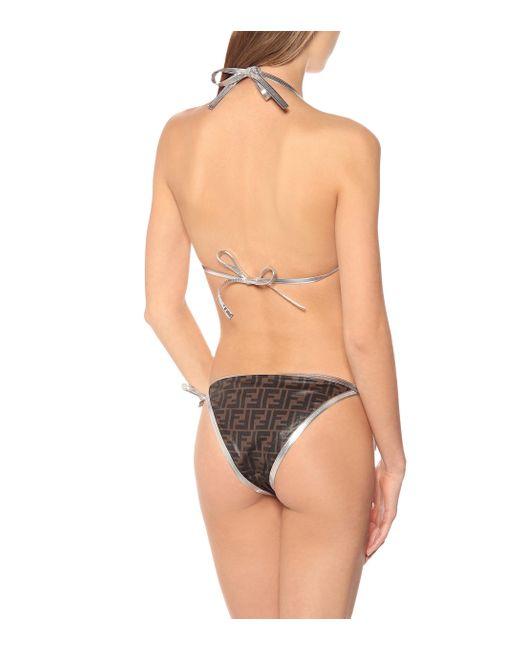 Fendi Brown Ff Printed Bikini