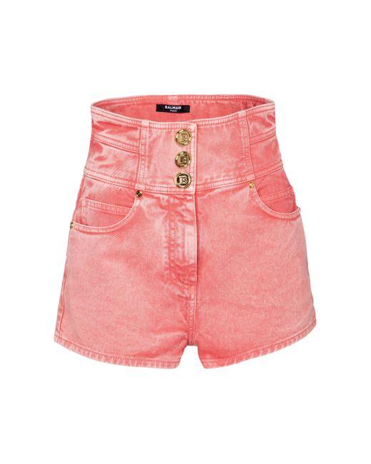 Balmain Pink High-Rise Jeansshorts
