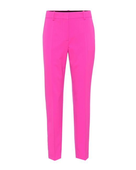 Emilio Pucci Pink Cropped Stretch Wool Pants