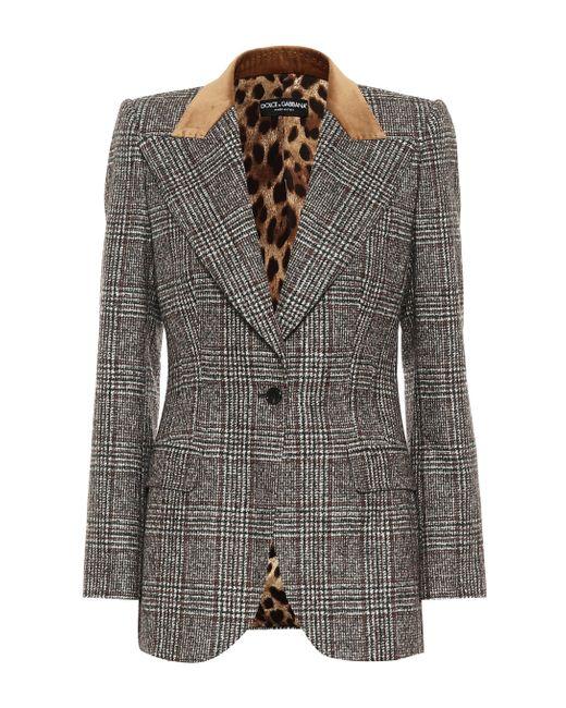 Dolce & Gabbana Gray Checked Wool-blend Blazer