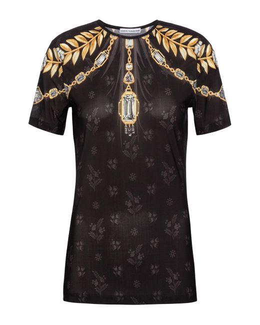 Paco Rabanne Black Bedrucktes T-Shirt aus Jersey