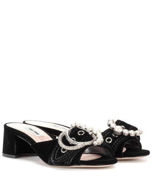 Miu Miu | Black Velvet Slip-on Sandals | Lyst