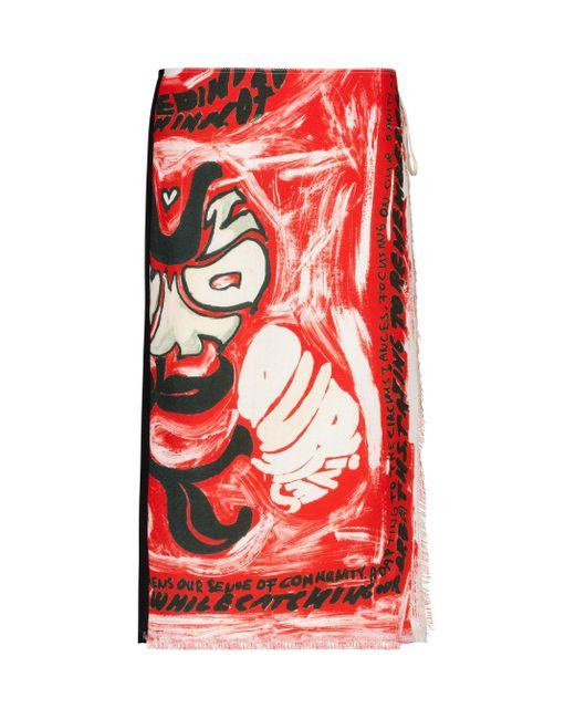 Marni Red Printed Wrap Skirt