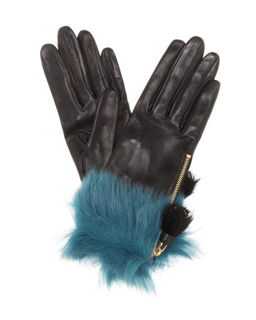Prada Black Fur-trimmed Leather Gloves