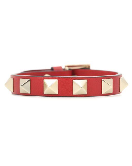 Valentino Red Rockstud Leather Bracelet