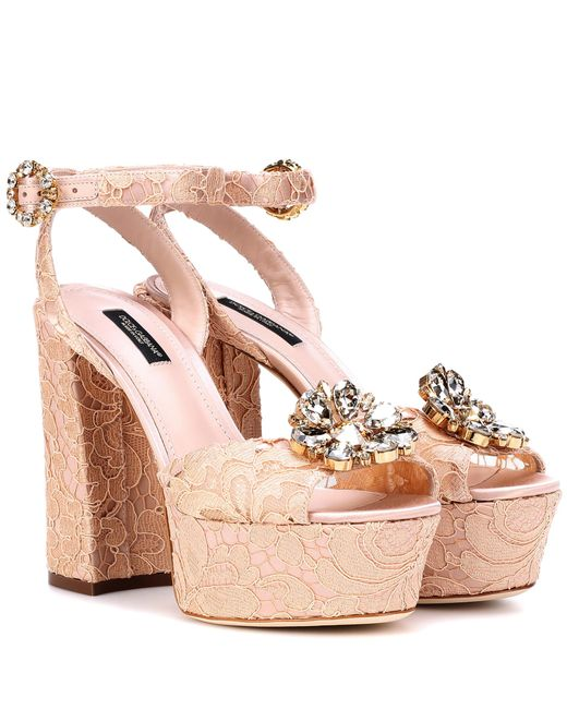 Dolce & Gabbana Pink Embellished Lace Plateau Sandals