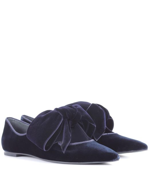 Tory Burch | Blue Clara Velvet Ballerinas | Lyst