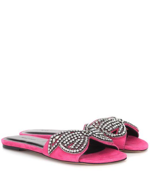 Isabel Marant Pink Jelson Embellished Suede Sandals