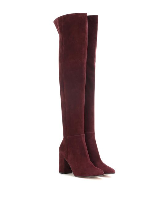 Gianvito Rossi - Purple Rolling 85 Suede Over-the-knee Boots - Lyst