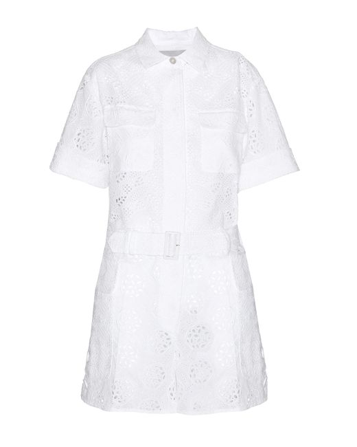 Valentino - White Boderie Anglaise Playsuit - Lyst
