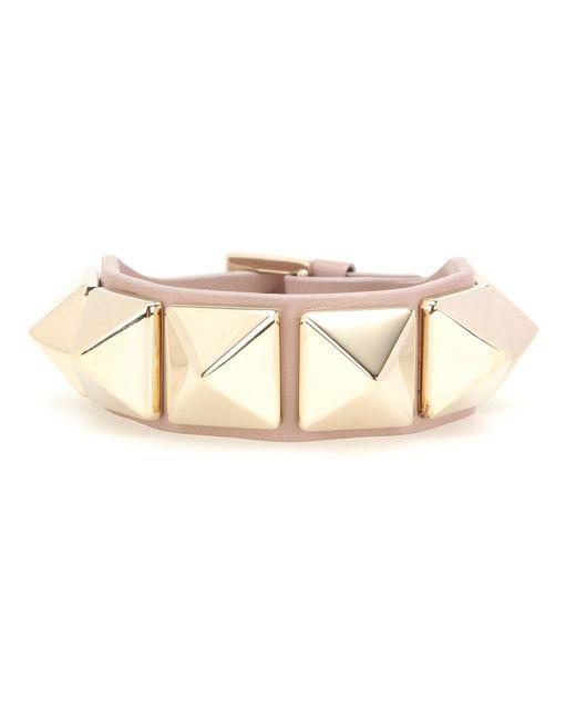 Valentino - Natural Rockstud Leather Bracelet - Lyst