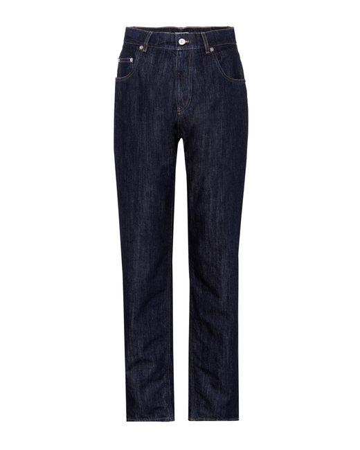 Miu Miu - Blue High-Rise Jeans aus Baumwoll-Denim - Lyst