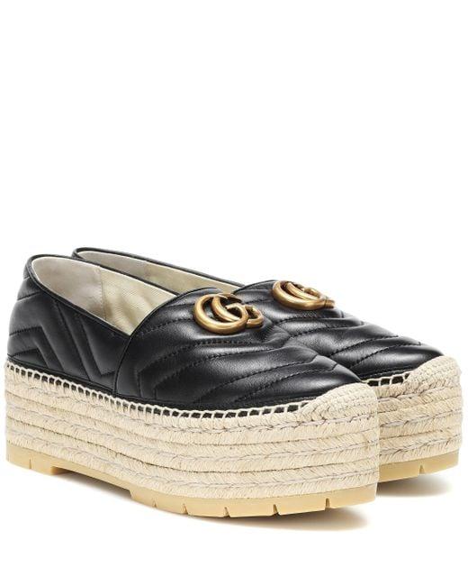 Gucci GG 50 Black Leather Espadrilles