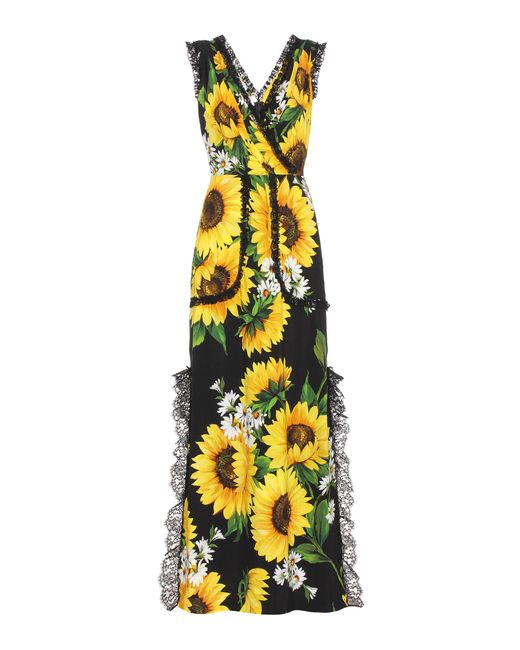 Dolce & Gabbana - Yellow Sleeveless Floral-printed Dress - Lyst