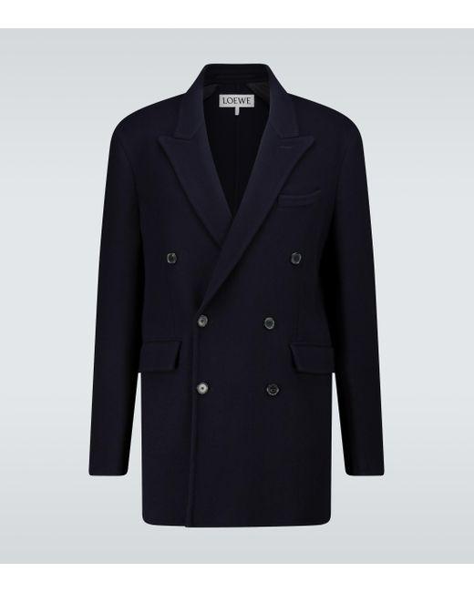 Loewe Blue Double-breasted Wool-blend Jacket for men