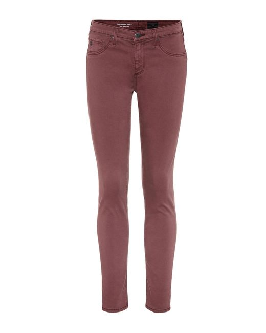 AG Jeans - Red Skinny Jeans The Legging Ankle - Lyst