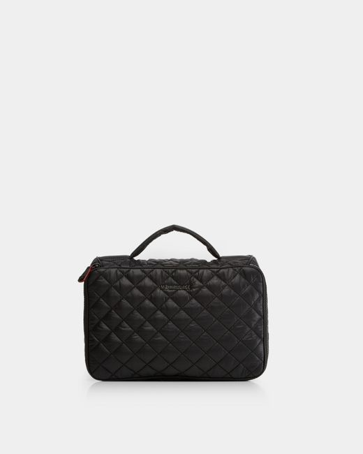 MZ Wallace Quilted Black Zip Round Cosmetic