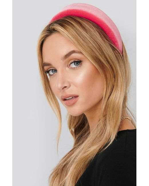 NA-KD Puff Velvet Hairband Pink