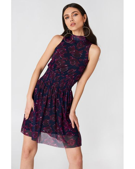 NA-KD - Blue Mesh Smock Dress Navy/purple - Lyst