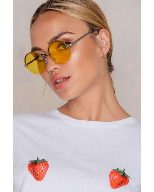 NA-KD | Yellow Round Colored Sunglasses | Lyst