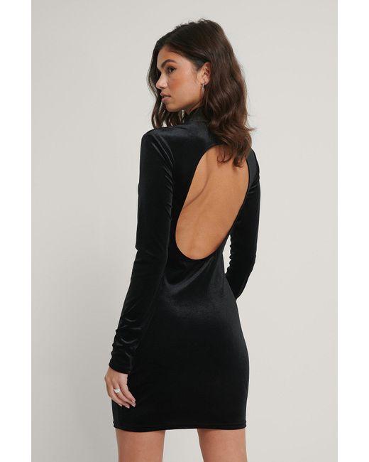 NA-KD Black Party Kleid Mit Tiefem Rücken