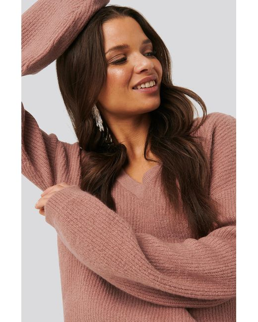 V-neck Knitted Sweater NA-KD en coloris Multicolor