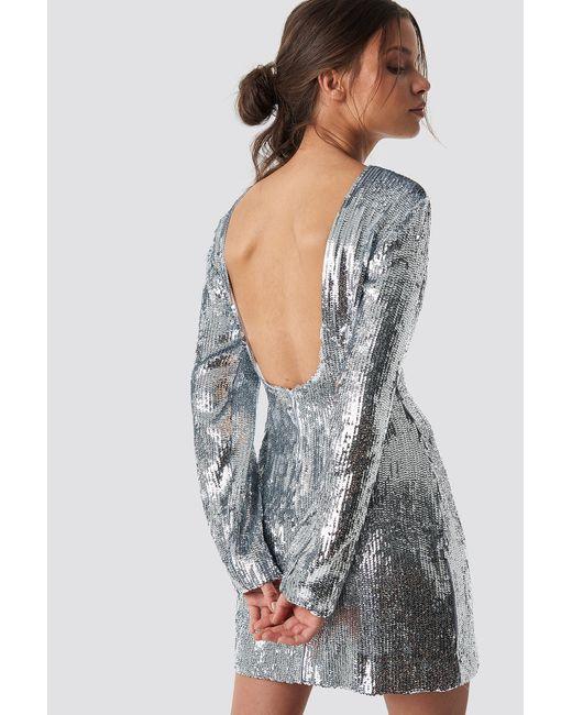 NA-KD Metallic Iva Nikolina x Deep Back Sequin Dress