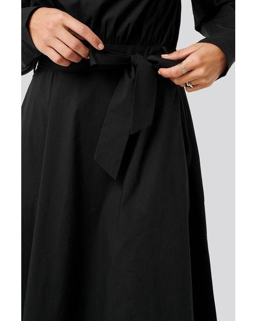 NA-KD Tied Waist Shirt Dress in het Black