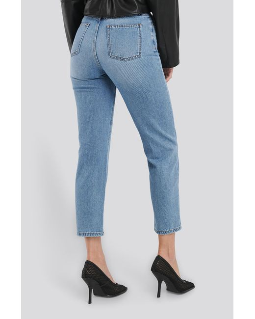 Highwaisted Straight Denim NA-KD en coloris Blue