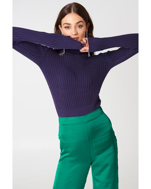 Trendyol - Purple Ribbed Polo Sweater - Lyst