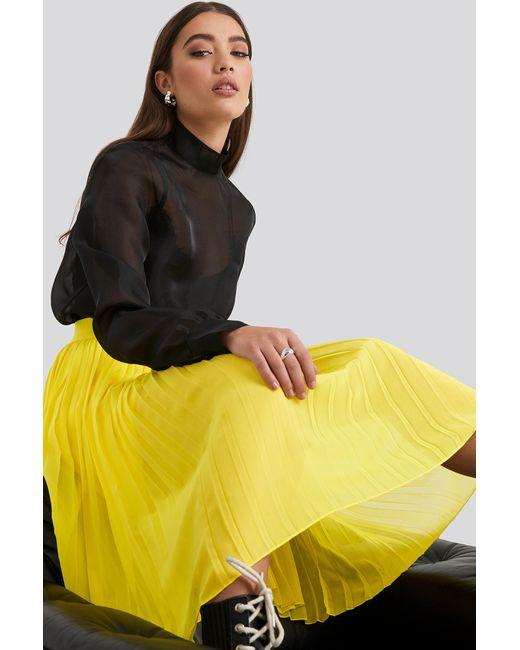 NA-KD Yellow Midi Pleated Skirt