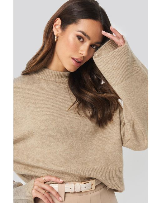 NA-KD Natural Wide Sleeve Round Neck Knitted Sweater