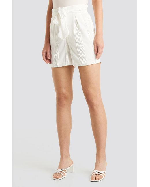 NA-KD White Structured Tied Waist Shorts