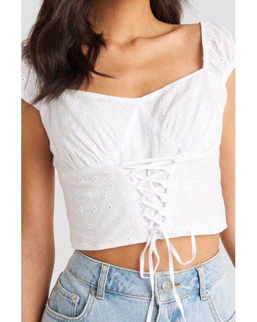 NA-KD White Boho Broiderie Anglais Lace Up Top