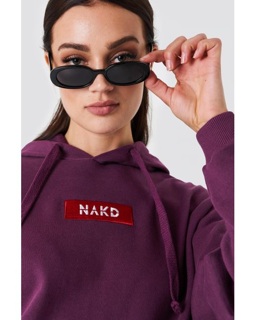 NA-KD - Purple Logo Hoodie Bordeaux - Lyst