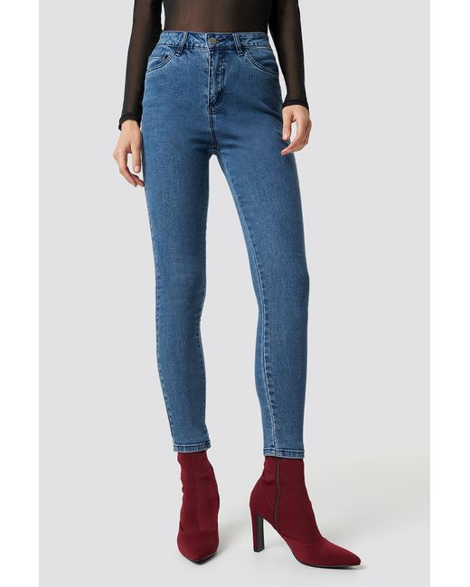a8692d638c38 ... NA-KD - Basic Skinny Jeans Denim Blue - Lyst ...