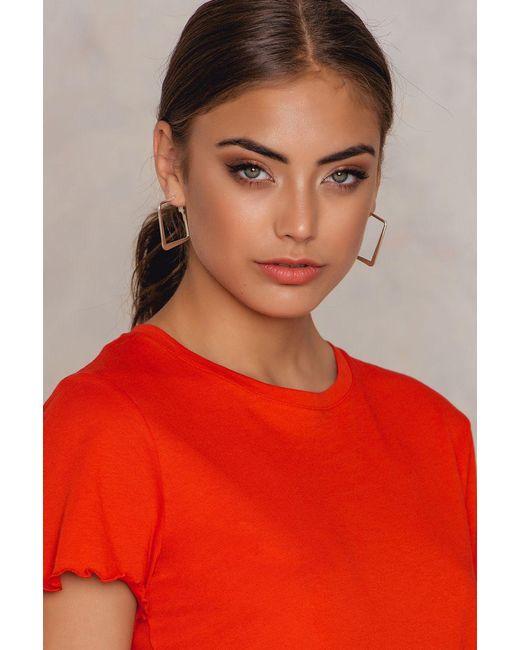 NA-KD | Metallic Square Hoop Earrings | Lyst