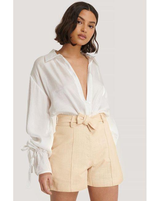 Trendyol Natural Beige Milla Belt Shorts