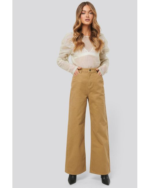 NA-KD Natural Trend Wide Leg High Waisted Jeans
