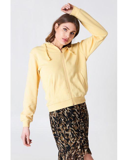 NA-KD - Basic Zipped Hoodie Light Yellow - Lyst