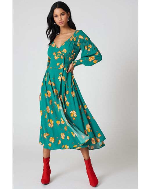 Free People - Green So Sweetly Midi Dress - Lyst