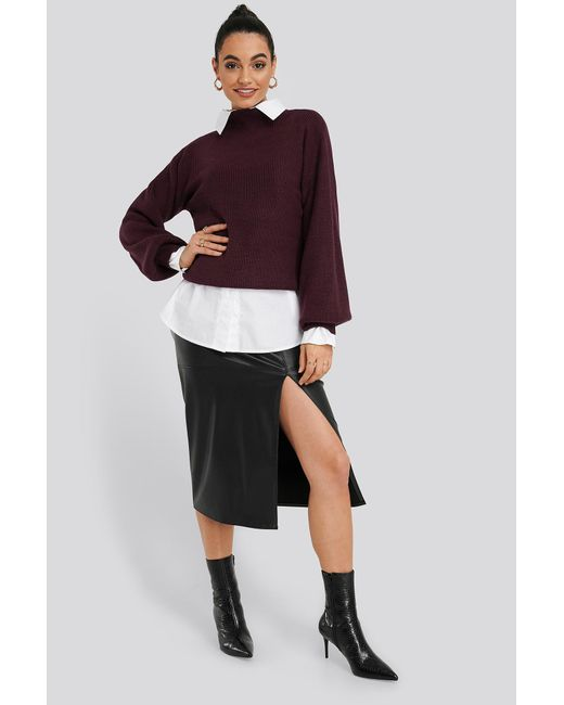 NA-KD High Neck Big Sleeve Knitted Sweater in het Red
